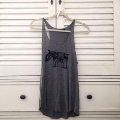 Brandy Melville Elephant Tanktop Loose grey tank top from Brandy Melville with an embroidered elephant design on the front. This design can no longer be found in stores. Brandy Melville Tops Tank Tops