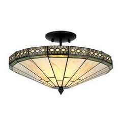 Warehouse of Tiffany�16-in W Tea-Stained Glass Tiffany-Style Semi-Flush Mount Light