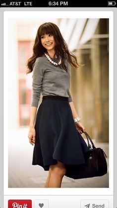 Love the grey shirt w skirt
