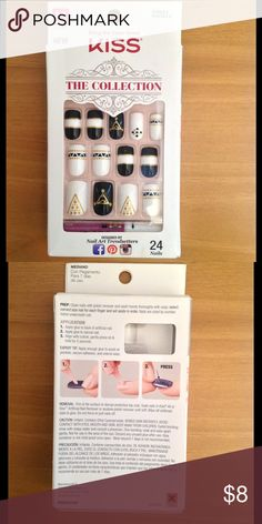 Kiss Collection Nails (Unopened!) Color: Gold/Black/White. Medium Length. Square Nails. 24-Count. Glue included. Kiss Makeup