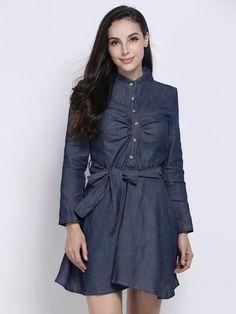 Elegant Solid V-Neck Long Sleeve A Line Women Denim Mini Dress - Gchoic.com #Dresses #Women #Fashion #Latest