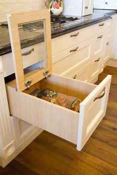 Custom, built in bread bin. www.thekitchendesigncentre.com.au