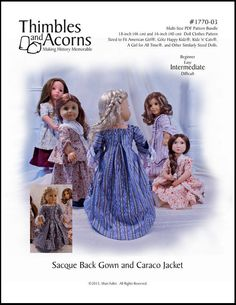 """1770 Sacque Back Gown and Caraco Jacket 18"""" Doll Clothes"""
