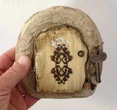 Fairy or Wee Folk door that opens with Key and embellishments for your visiting fairy, hobbit, gnome, dragon or elf. Indoor/ outdoor by UnderTheMushroomCap on Etsy