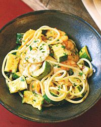 Spaghetti with Grilled Shrimp, Zucchini, and Salsa Verde Recipe on Food & Wine    This is absolutely yummy!  I use whole wheat pasta to make it a healthier choice.