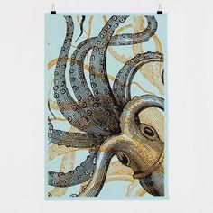 Bon Matin Oktopus No. 1 Siebdruckplakat