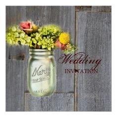 rustic country floral mason jar wedding invite