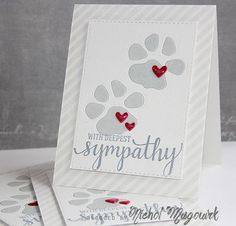 Pet sympathy card - paws and hearts - colors and layout - bjl