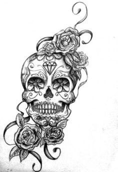 omg yes flower candy skull tattoo without the ribbons at the bottom but I like…                                                                                                                                                     More