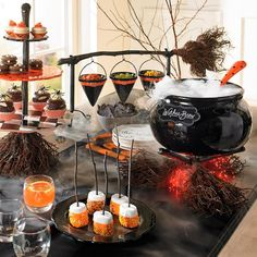 Broomstick Three-tiered Server and more thing to decor your table. #Halloween #Table #Decor
