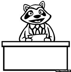news anchor racoon online coloring page