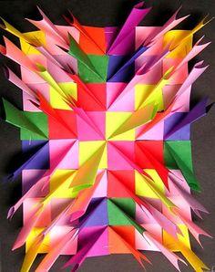 art lesson, origami paper, artsonia relief sculpture, bas relief, mural