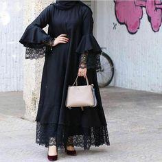 Abaya Inspirasi Gamis Syar'i ▪🏡Bandung ▪WA: ▪line: Pre Order available Modern Hijab Fashion, Abaya Fashion, Muslim Fashion, Modest Fashion, Fashion Dresses, Dress Pesta, Mode Abaya, Iranian Women Fashion, Hijab Fashionista