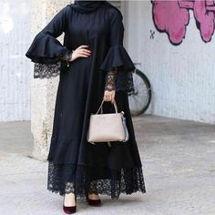 Abaya Inspirasi Gamis Syar'i ▪🏡Bandung ▪WA: ▪line: Pre Order available Modern Hijab Fashion, Abaya Fashion, Muslim Fashion, Modest Fashion, Fashion Dresses, Abaya Mode, Mode Hijab, Hijab Style Dress, Abaya Style