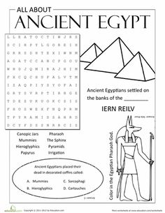 Worksheets: All About Ancient Egypt-to start off the year in SS, how much do they remember about Egypt, before we go on to Greeks
