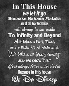 Amazon.com: In This House We Do Disney - Poster Print Photo Quality - Made in USA - Disney Family House Rules - Frame not included (16x20, Chalkboard Background): Posters & Prints