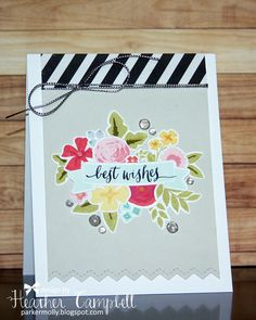 Parker&Molly: A fond farewell! Cool Cards, Diy Cards, Karten Diy, Card Maker, Card Sketches, Crafty Projects, Scrapbook Paper Crafts, Card Tags, Flower Cards