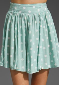 MINKPINK Peppermint Pattie High Waisted Skirt in Mint Spot at Revolve Clothing | I love the color!