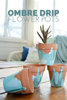 OMBRE DRIP FLOWER POTS Mad in Crafts - - The process of making these ombre drip flower pots is simple and fun, and you really can't do it wrong. Cement Crafts, Clay Pot Crafts, Crafts To Make, Diy Crafts, Tree Crafts, Paper Crafts, Diy Ombre, Painted Flower Pots, Painted Vases