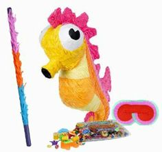 """Seahorse Pinata Party Pack Including Pinata, Pinata Candy and Toy Filler, Buster and Blindfold by Pinata. $35.57. Seahorse Pinata measures 22"""" long x 10"""" wide to match your party theme. Includes approximately 2 pounds of Candy and Toys. Caution: not recommended for children under 3 years of age. Includes one hard Plastic Pinata Buster that measures approximately 30"""". Caution: use only under adult supervision. Includes one Blindfold with Elastic String. Measures ..."""