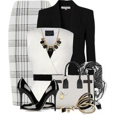 A fashion look from February 2014 featuring Giles, wool blazer and knee length pencil skirts. Browse and shop related looks. Diva Fashion, Office Fashion, Work Fashion, Womens Fashion, Fashion Sets, Classy Outfits, Chic Outfits, Fashion Outfits, Modest Fashion