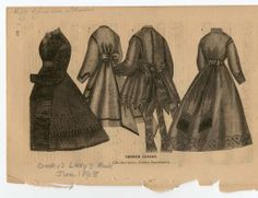"Women 1868, Plate 128. Fashion plates, 1790-1929. The Costume Institute Fashion Plates The Metropolitan Museum of Art, New York. Gift of Leo Van Witsen (b17509853) | ""Summer cloaks"" #fashion"