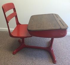 Vintage Old Wooden Red Painted Antique School Desk With Attached Swivel Chair