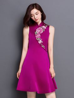 Embroidered Qipao / Cheongsam Dress with Full Skirt