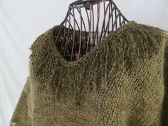 Moss Trim Fringe Green Sweater Fringe Neckline Fringe Sleeves Women sz L   ReVintageBoutique.Etsy.com