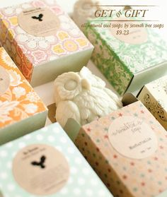 All natural owl soaps : loving these pretty gifts featured on Going Home to Roost