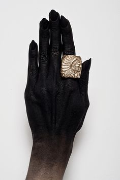 Solid brass oversized indian chief ring by WITNESS COMPANY, Brooklyn based jewelry brand . All jewelry is handmade by William Bryan Purcell.