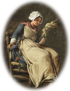 Hugues Taraval - A kitchen maid [Titled as such by the pinner, but she is spinning wool with a drop spindle, so. 18th Century Clothing, 18th Century Fashion, Kitchen Maid, Spinning Wool, Spinning Wheels, Drop Spindle, Mary Cassatt, Henri Matisse, Weaving