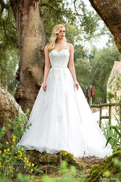 a bela novia 2015 wedding dress illusion beaded strap sweetheart neckline a line bridal gown  #bridal #wedding #weddings #weddinggown #weddingdress