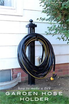 LoveGrowsWild.com | Make this DIY Garden Hose Holder to add great curb appeal to your home!