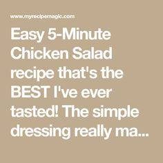 Easy 5-Minute Chicken Salad recipe that's the BEST I've ever tasted! The simple dressing really makes it perfect. Chicken Salad recipe made with diced chicken, plain yogurt, apples, grapes, celery, cucumber, raisins and more! Great as chicken salad sandwiches or in lettuce as a wrap or on crackers. Easy Salad Recipes, Chicken Salad Recipes, Dessert Recipes, Apple Chicken, Diced Chicken, Perfect Chicken, Easy 5, Plain Yogurt, Salad Sandwich