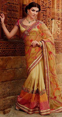 Beige Tussar Silk Wedding Saree