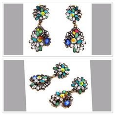 Blue and Green Floral Drop Rhinestone Earrings August 2015 Online Shopping Haul via @Choies  Follow Me At Pinterest/MissyK'sCloset