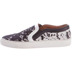 Pre-owned Givenchy Lace Slip-On Sneakers ($245) ❤ liked on Polyvore featuring shoes, sneakers, black, black lace shoes, slip-on shoes, slip on sneakers, black rubber sole shoes and givenchy trainers