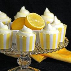 """Lemon Cream Cupcakes= Allrecipes.com  but Becky (who make the best lemon cupcake ever) cute idea for the presentation part."" #spring #recipe #lemon"