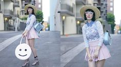 Get this look: http://lb.nu/look/8323585  More looks by Amy Roiland: http://lb.nu/afashionnerd  Items in this look:  Bando Bag, Inu Inu Skirt   #retro #romantic #street