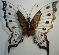 Contemporary Metal Wall Art Large Erfly With Dot Wings