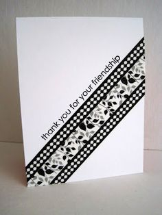 graphic design for this card is made of washi tape...clean black and white style with the diagonal band of tapes...