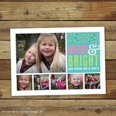 Merry & Bright Christmas card, photo collage card for the holidays. $17.00, via Etsy.