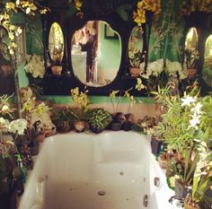 Fantasy bathroom with plants Indoor Garden, Home And Garden, Indoor Plants, Dream Bathrooms, Dream Rooms, Design Hotel, House Design, Witch House, Witch Cottage