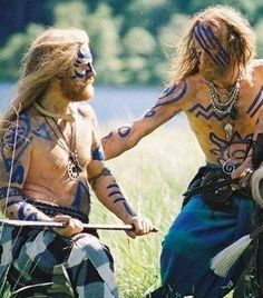 "Ancient Celts - Celtic warriors often painted their bodies with a blue die from a plant called ""Woad"". The woad would be painted in different shapes, such as animal. They were very fierce fighters, and the Romans feared them. Vikings, Irish Celtic, Celtic Art, Celtic Warriors, Celtic Culture, Celtic Mythology, Iron Age, Barbarian, Ancient Civilizations"
