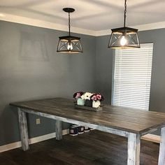 Square Farmhouse Table, Rustic Farmhouse Table, Dining Set with Stools, Table with Short Benches, Provincial Brown Top Gray White Wash Base Dining Set, Dining Table, Barnwood Coffee Table, Farmhouse Table With Bench, Moving Furniture, Handmade Table, Small Spaces, Table Settings, Free Plans