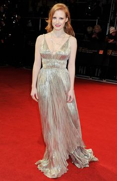 Jessica Chastain in Oscar de la Renta @ BAFTAs