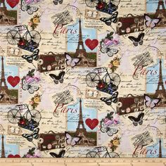 Timeless Treasures Canvas Paris Collage Antique from @fabricdotcom  From Timeless Treasures, this screen printed cotton duck is versatile, lightweight and perfect for window accents (draperies, valances, curtains and swags), accent pillows, bed skirts, duvet covers, dresses, skirts, tote bags and aprons. Colors include red, aqua, pink, black, blue, white and ivory.