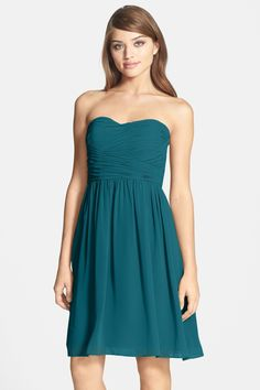'Sarah' Strapless Ruched Chiffon Dress by Donna Morgan on @nordstrom_rack