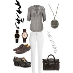 A fashion look from March 2015 featuring Paige Denim jeans, Vivienne Westwood Anglomania oxfords and Gucci oxfords. Browse and shop related looks.